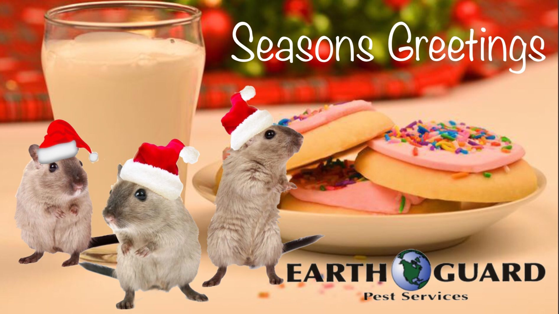 Seasons Greetings holiday graphic with mice and cookies